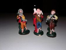 "3 Village People 2 with Bagpipes and 1 Farmer 2 1/2"" tall Painted Plastic"