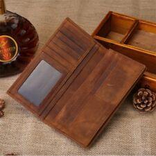 Men's Clutch Long Bifold Wallet Vintage Genuine Leather Cowhide Card Case Purse