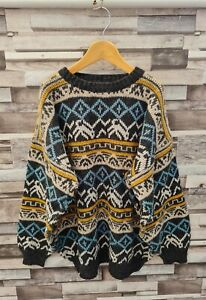 WOMENS GORGEOUS VTG 90'S YK2 GEOMETRIC ABSTRACT WOOL COSBY THICK KNIT JUMPER M