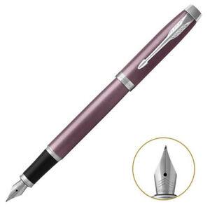 Parker IM Series Fountain Pen Purple Chrome Trim With Fine 0.5mm Steel Point