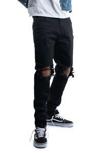 Men's Skinny Jeans Distressed Denim Jeans Stretch Denim Slim Fit Ripped Jeans