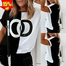 ? Damen Sommer Kurzarm Bluse Freizeit Rundhals Tunika Sommer T-Shirt Tops Hemd