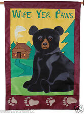 Bear House Flag WIPE YER PAWS Wilderness Cabin Camp Applique 28x40 Premier Kites