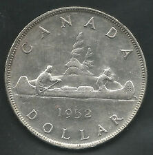 CANADA,  1952 NWL,  DOLLAR,  SILVER, KM#46, ALMOST UNCIRCULATED