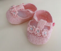 NEW Baby Girl Crochet Knit Newborn Diamante Pink T-Strap Shoes 0-3 months Size 1