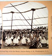 PHOTO STEREO BY KILBURN 1896 PROCESSION DES DRAPEAUX WASHINGTON USA s370