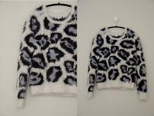 GLAMOROUS Asos Oversized Soft Fluffy Large Gray Leopard Eyelash Sweater cozy M