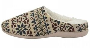 LADIES DUNLOP MULE SLIPPERS TAPESTRY CUSHIONED WARM FAUX FUR LINED SLIP ON 3 - 7
