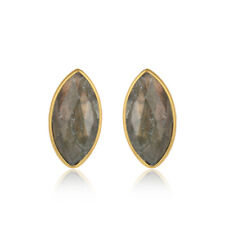 Labradorite Gemstone 925 Silver Gold Plated Stud Earrings Famous Jewelry