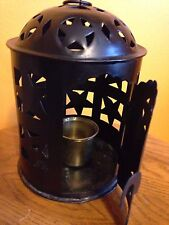 Black Punched Tin Stars  Lantern Candle Holder with Brass Votive Holder