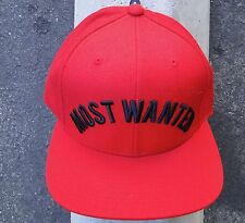 Black Scale Most Wanted Logo Mens Red Skate Co. Snapback Hat One Size