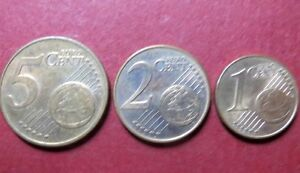 *Mixed  LOT of  3  EURO COINS, Fine Circulated  5, 2 and 1 CENTS, Coin Lot  #5
