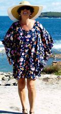 NWT Navy Floral  Kaftan frill batwing sleeve Beach to Bar OS fits 12,14,16