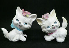 Vintage Lefton Japan White Persian Cats w/Applied Flowers Figurines 1726