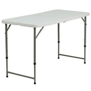 Flash Furniture 4 Foot Height Adjustable Granite White Plastic Folding Table