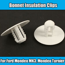 10x Clips Ford Mondeo MK3 Bonnet Insulation Lining Pad Clips White Plastic