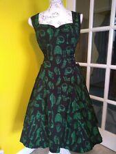 Hell Bunny Black/Green Gothic Anatomy Print Swing Dress Size 12-14