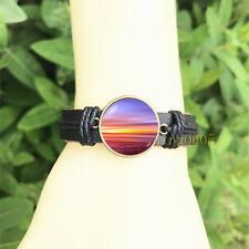 Sunset Sky Nature Black Bangle 20 mm Glass Cabochon Leather Charm Bracelet