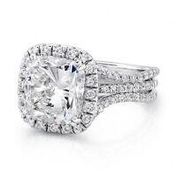 3.01 Ct Halo Cushion Cut Diamond 3-Row Curve Shank Engagement Ring F,VS1 EGL 14K