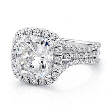 Gorgeous 4.50 Cushion Cut Diamond 3-Row Halo Engagement Ring G,Vs2 Gia Platinum