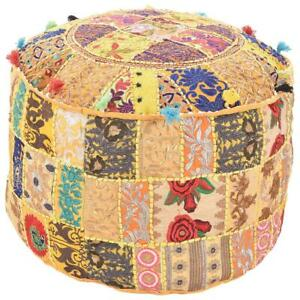Indian Pouf Cover Vintage Round Ottoman Footstools Patchwork pouf cover round
