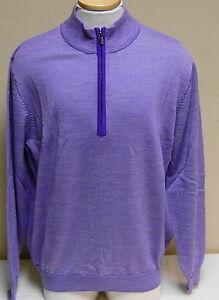 NWT Footjoy End on End Merino Wool Half Zip Sweater, Violet + White, 23631, $150
