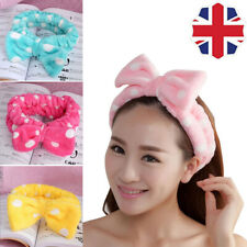 Big Bow Soft Dot Striped Towel Hair Band Wrap Headband for MakeUp Bath Spa Cute