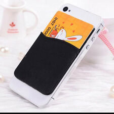 Fashion Adhesive Sticker Back Cover Card Holder Case Black Pouch For Cell Phone