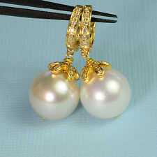 18k Solid Yellow Gold 12.8mm South Sea White Pearl Earrings With Diamond Accent
