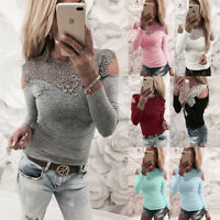 New Women Sexy Solid  Top T-Shirts Lace Cold Shoulder Long Sleeve Slim Blouse