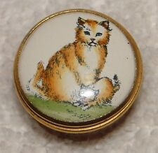 Halcyon Days Bilston & Battersea Enamel Trinket Mini Box Mama Cat & Her Baby