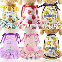 Printed Small Dog Clothes Beach Couples Dog Dress Shirt Breathable Puppy Vest