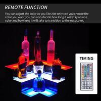 Corner Liquor Bottle Display Shelf 20'' 3 Layer LED Lighted Color Changing W/RC