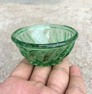 Vintage Beautiful Green Glass Bowl Japan Old Decorative Collectible Glassware