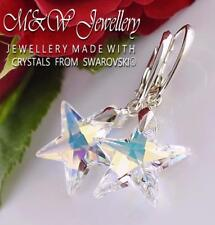 925 Sterling Silver Earrings *STAR* Crystal AB 20mm Crystals From Swarovski®