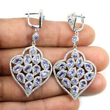 Sterling Silver 925 Large Genuine Natural Blue Tanzanite & Lab Diamond Earrings