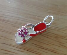 1 Sterling Silver 3D 20x7mm Red Crystals & Enamel Sandal Shoe Charm