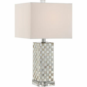 """Quoizel Smokey Pearl 21"""" Transitional Table Lamp Polished Chrome Q2610T"""