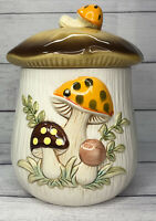 "Vintage Merry Mushroom Large Canister 11"" Sears Roebuck Ceramic 1978 Collectible"