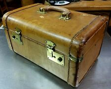 Antique Brown Stitched Leather Cosmetic Makeup Train Case Luggage Suitcase Bag