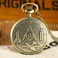 Freemasonry Theme Quartz Pocket Watch Mason Souvenir with Necklace Chain Gifts