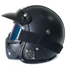 1pc L Harley Motorcycle Helmet Vintage Leather 3/4 Face Mask Handmade Flat-Black