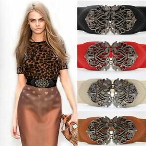 Retro Totem Wide Waistband Elastic Stretch Dress Waist Belt Buckle band ladies