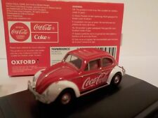 Oxford 76VWB009CC VW Beetle Coca Cola Diecast Model Car Red Body 1 76 - OO Gauge