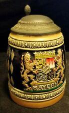 Vintage West Germany Gerz pewter lid bayern Beer Stein handarbeit