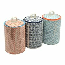 Tea Coffee Sugar Canister Set Porcelain Kitchen Storage Set of 3 Designs