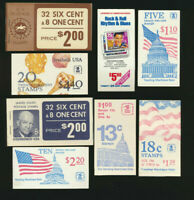 USA Mint Intact BOOKLETS Lot of 8 Different Elvis, Seashells, Flags, Eisenhower