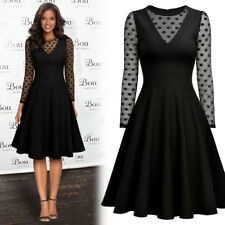 New Women's Elegant Polka Dot Business Cocktail Party Pleated Flare Swing Dress