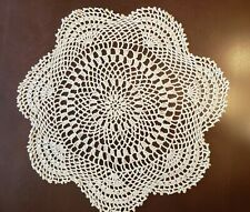 """Vintage Hand Crocheted Natural Beige Doily Approx 17"""" Round"""