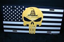 AMERICAN FLAG  METAL LICENSE PLATE DONT TREAD ON ME...  GADSDEN FLAG  PUNISHER..